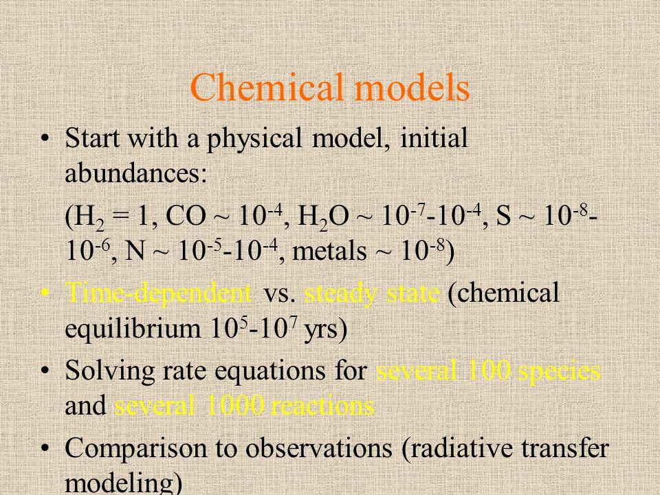 Chemical models Start with a physical model, initial abundances: (H 2 = 1, CO ~ 10 -4, H 2 O ~ 10 -7 -10 -4, S ~ 10 -8 - 10 -6, N ~ 10 -5 -10 -4, meta