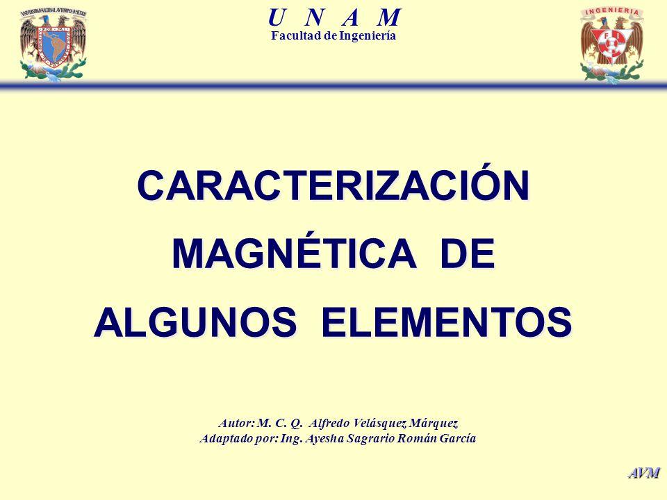 U N A M Facultad de Ingeniería AVM Es el cociente que resulta de dividir la permeabilidad magnética de una sustancia, entre un valor patrón; el cual, generalmente es la permeabilidad magnética del vacío cuyo valor es 4 x10 -7 [T·m·A -2 ].