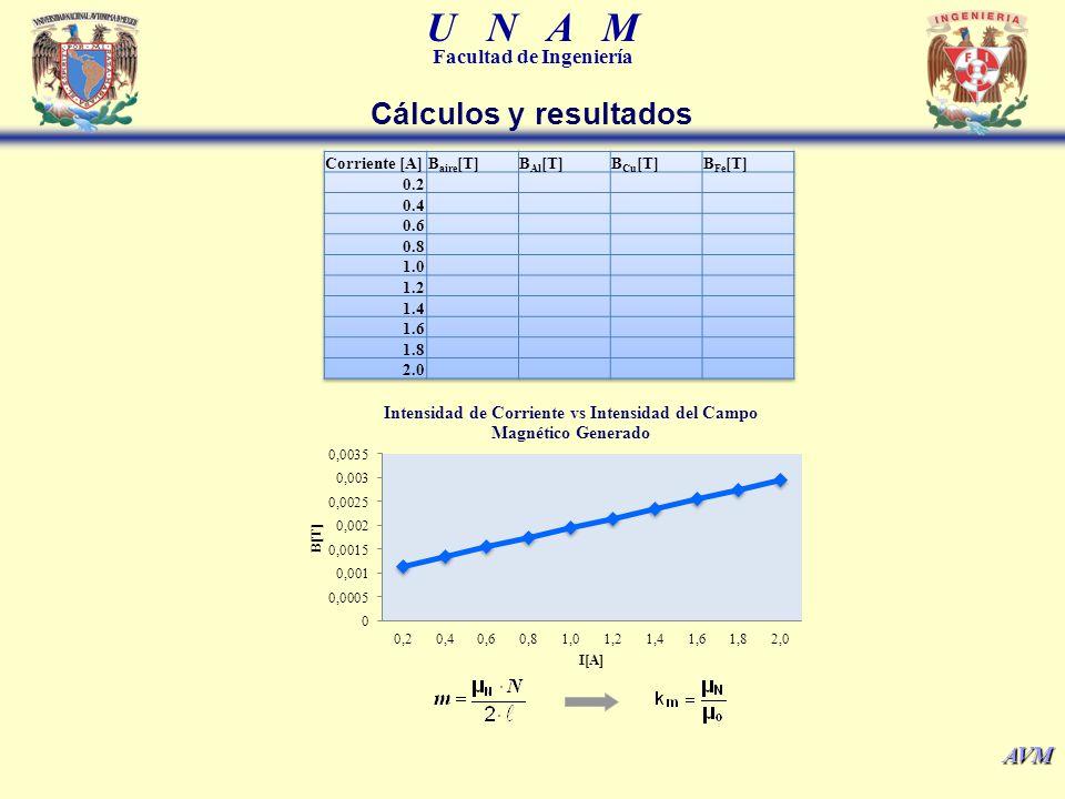 U N A M Facultad de Ingeniería AVM Cálculos y resultados