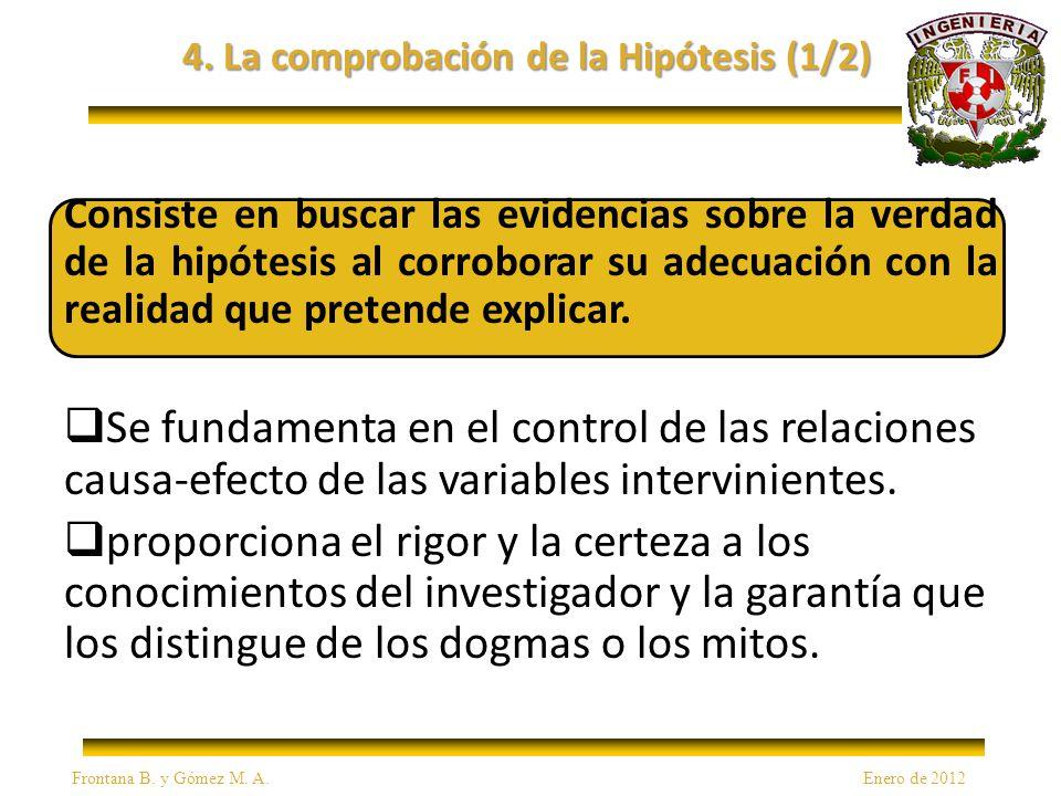 4. La comprobación de la Hipótesis (1/2) Consiste en buscar las evidencias sobre la verdad de la hipótesis al corroborar su adecuación con la realidad