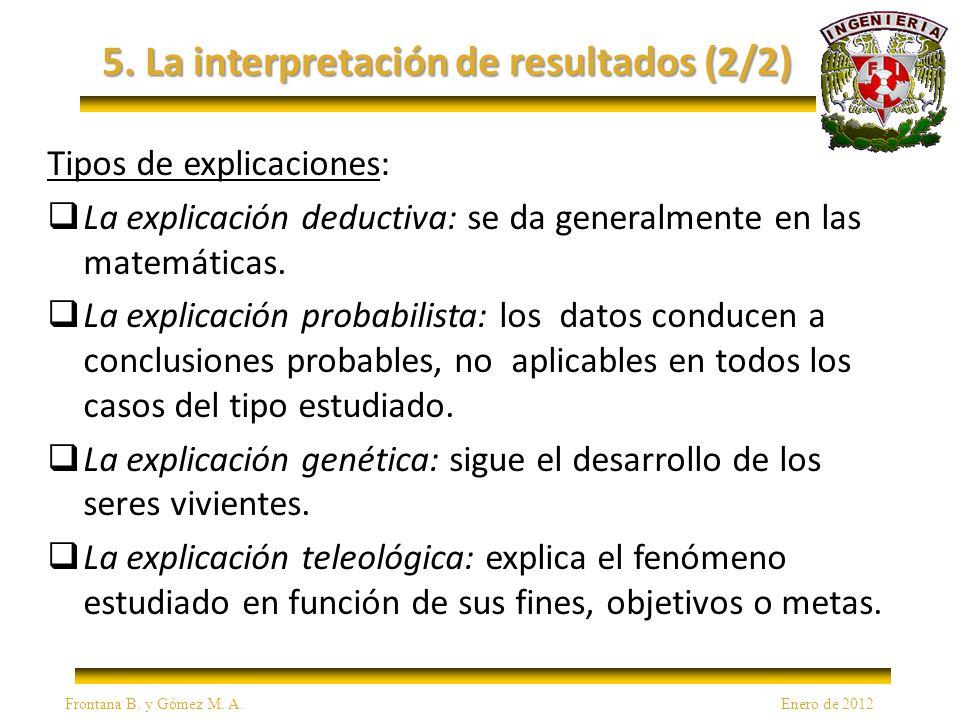 5. La interpretación de resultados (2/2) Tipos de explicaciones: La explicación deductiva: se da generalmente en las matemáticas. La explicación proba