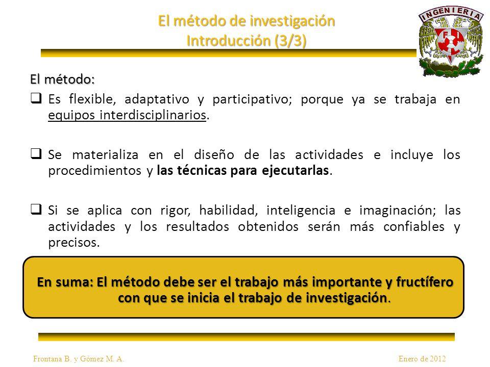 El método de investigación Introducción (3/3) El método: Es flexible, adaptativo y participativo; porque ya se trabaja en equipos interdisciplinarios.