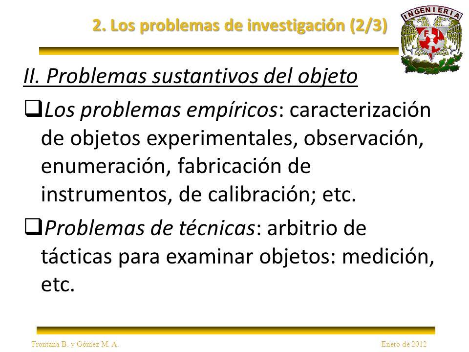 2. Los problemas de investigación (2/3) II.