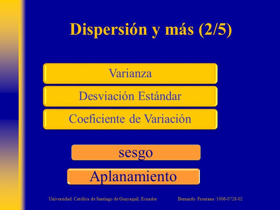 Varianza Desviación Estándar Coeficiente de Variación Dispersión y más (2/5) sesgo Aplanamiento Universidad Católica de Santiago de Guayaquil, Ecuador Bernardo Frontana /1006-0728-02