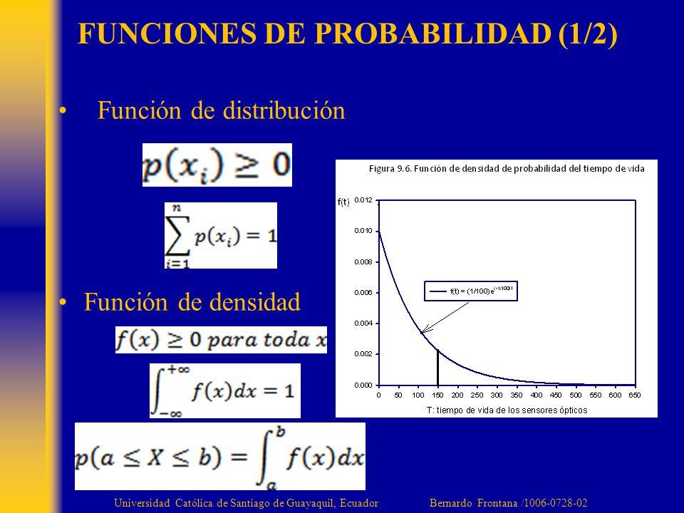 FUNCIONES DE PROBABILIDAD (1/2) Función de distribución Función de densidad Universidad Católica de Santiago de Guayaquil, Ecuador Bernardo Frontana /1006-0728-02
