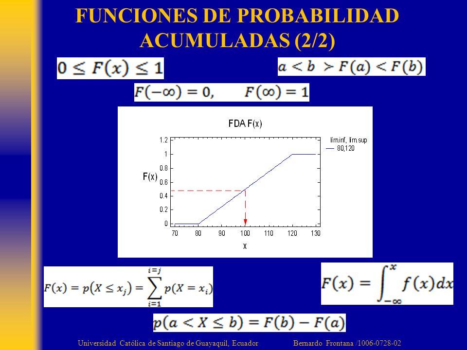 FUNCIONES DE PROBABILIDAD ACUMULADAS (2/2) Universidad Católica de Santiago de Guayaquil, Ecuador Bernardo Frontana /1006-0728-02
