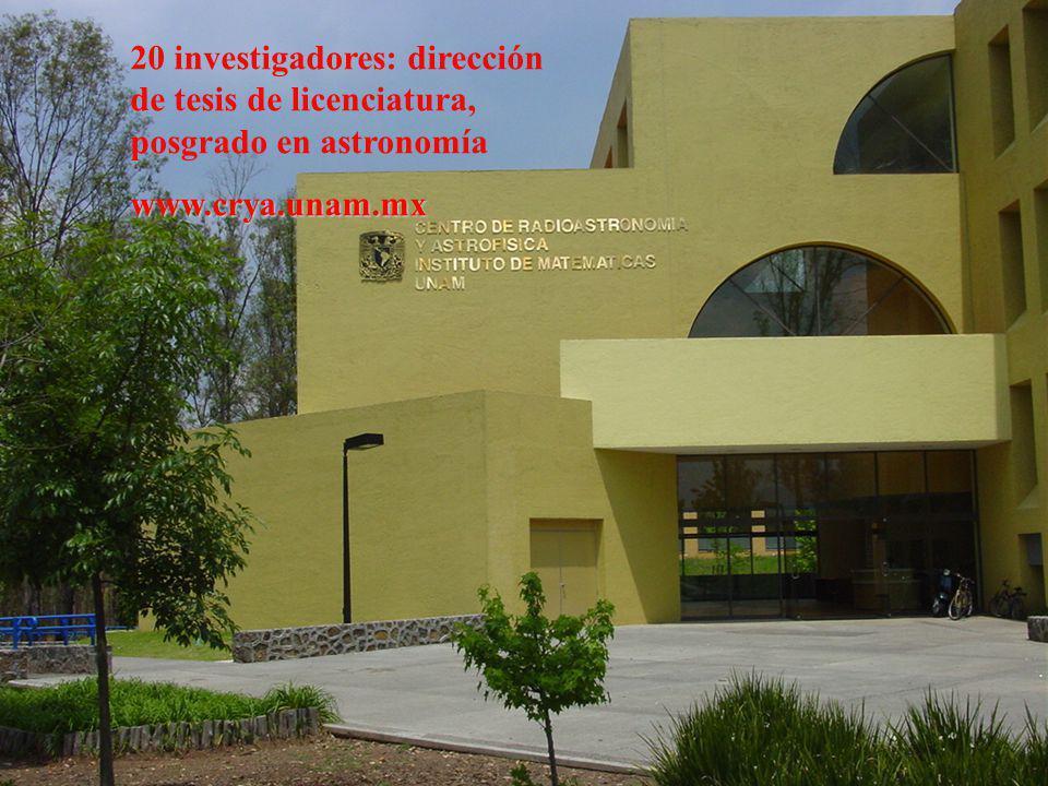 20 investigadores: dirección de tesis de licenciatura, posgrado en astronomíawww.crya.unam.mx