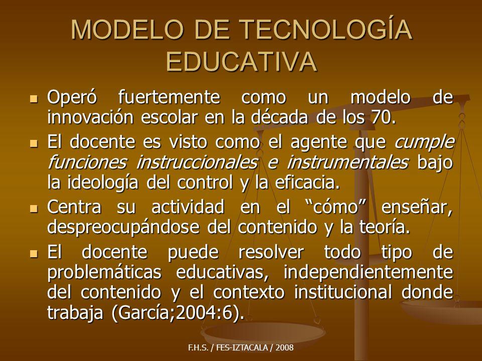 F.H.S. / FES-IZTACALA / 2008 MODELO DE TECNOLOGÍA EDUCATIVA Operó fuertemente como un modelo de innovación escolar en la década de los 70. Operó fuert
