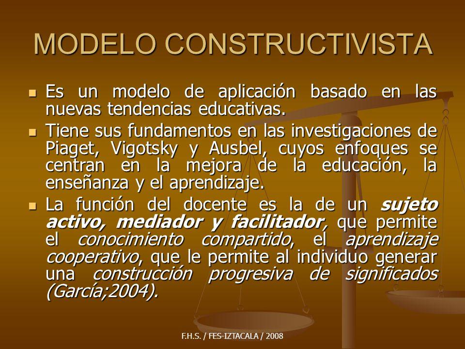F.H.S. / FES-IZTACALA / 2008 MODELO CONSTRUCTIVISTA Es un modelo de aplicación basado en las nuevas tendencias educativas. Es un modelo de aplicación