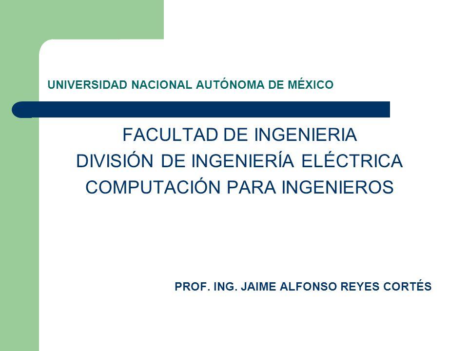 UNIVERSIDAD NACIONAL AUTÓNOMA DE MÉXICO FACULTAD DE INGENIERIA DIVISIÓN DE INGENIERÍA ELÉCTRICA COMPUTACIÓN PARA INGENIEROS PROF. ING. JAIME ALFONSO R