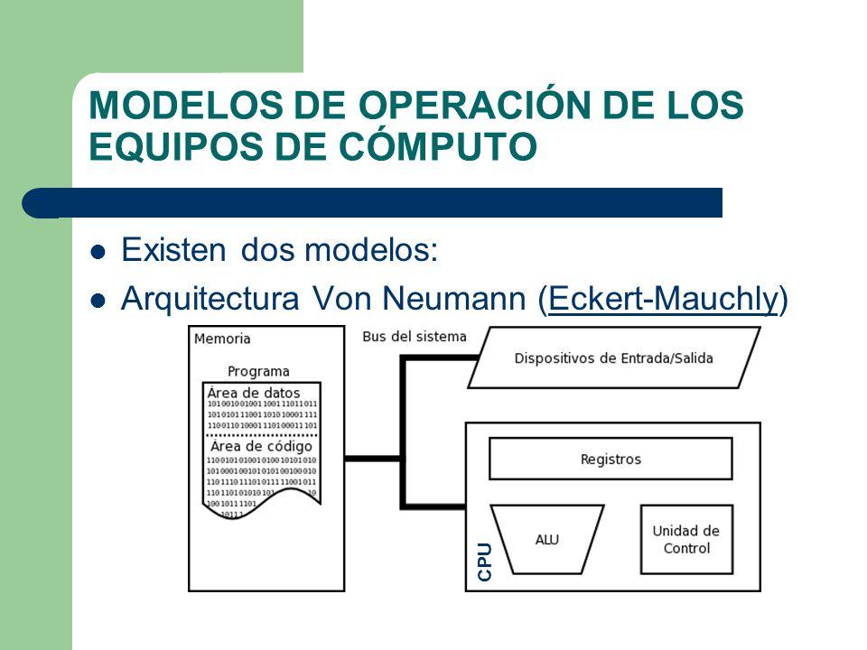 MODELOS DE OPERACIÓN DE LOS EQUIPOS DE CÓMPUTO Existen dos modelos: Arquitectura Von Neumann (Eckert-Mauchly)Eckert-Mauchly CPU