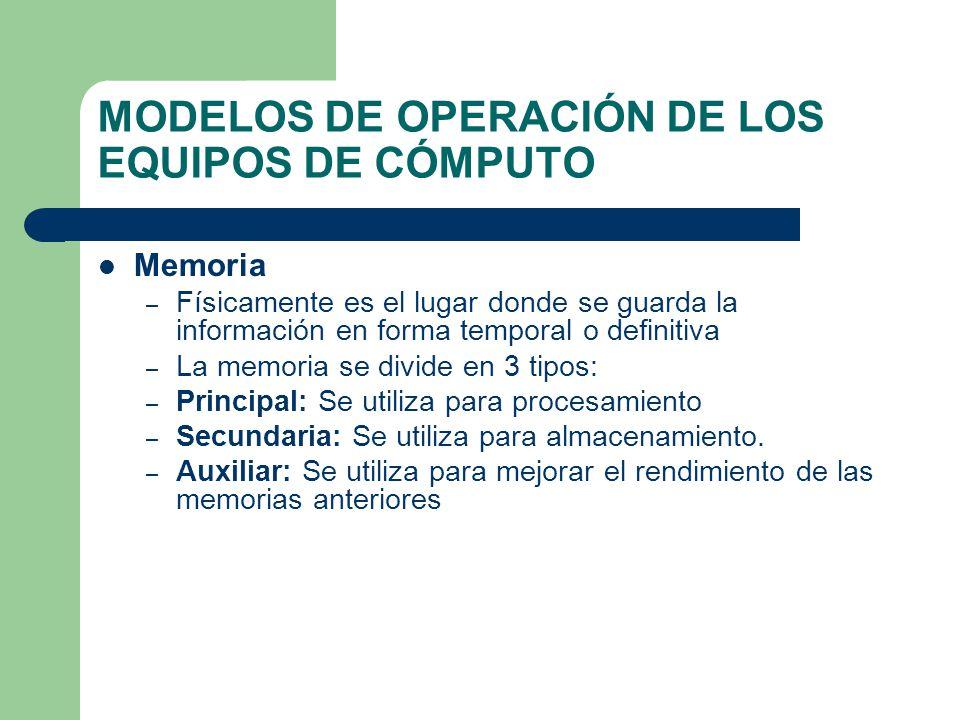 MODELOS DE OPERACIÓN DE LOS EQUIPOS DE CÓMPUTO Memoria – Físicamente es el lugar donde se guarda la información en forma temporal o definitiva – La me