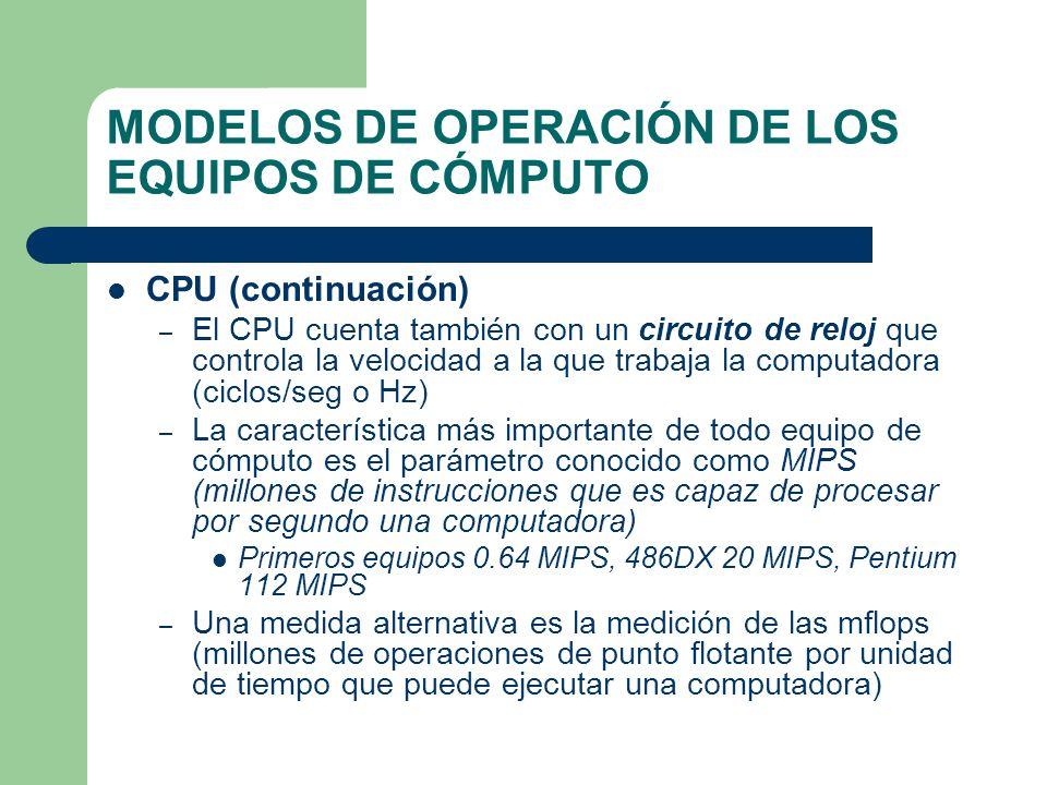 MODELOS DE OPERACIÓN DE LOS EQUIPOS DE CÓMPUTO CPU (continuación) – El CPU cuenta también con un circuito de reloj que controla la velocidad a la que
