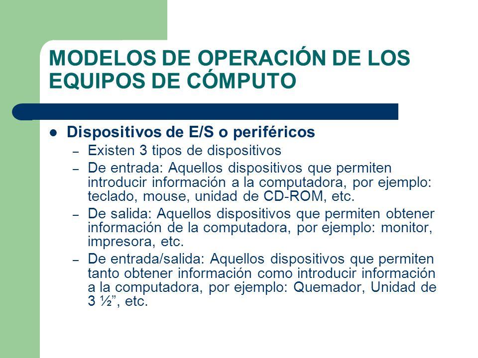 MODELOS DE OPERACIÓN DE LOS EQUIPOS DE CÓMPUTO Dispositivos de E/S o periféricos – Existen 3 tipos de dispositivos – De entrada: Aquellos dispositivos