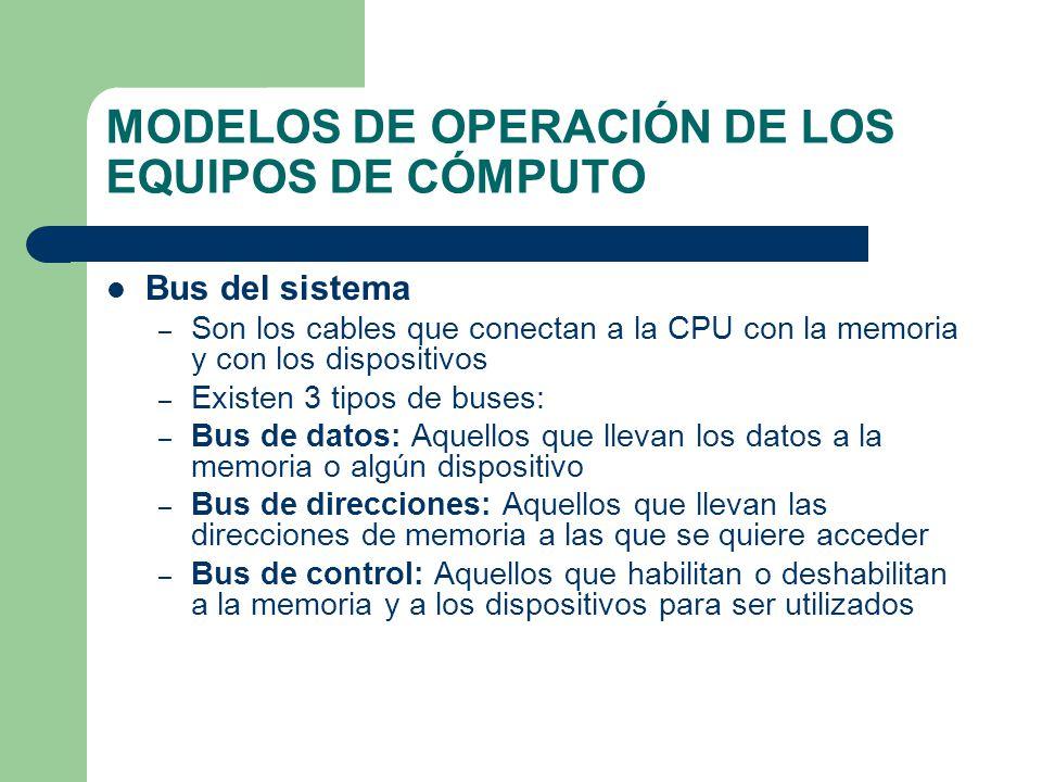 MODELOS DE OPERACIÓN DE LOS EQUIPOS DE CÓMPUTO Bus del sistema – Son los cables que conectan a la CPU con la memoria y con los dispositivos – Existen