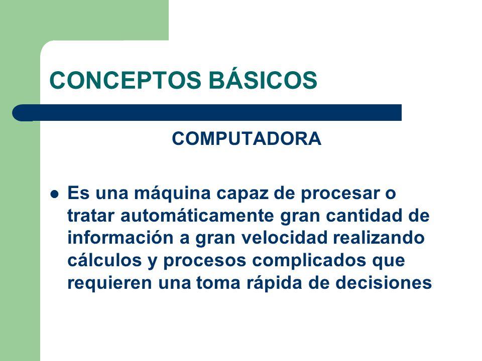CONCEPTOS BÁSICOS COMPUTADORA Es una máquina capaz de procesar o tratar automáticamente gran cantidad de información a gran velocidad realizando cálcu
