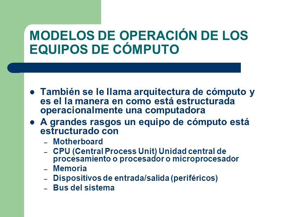 MODELOS DE OPERACIÓN DE LOS EQUIPOS DE CÓMPUTO También se le llama arquitectura de cómputo y es el la manera en como está estructurada operacionalment