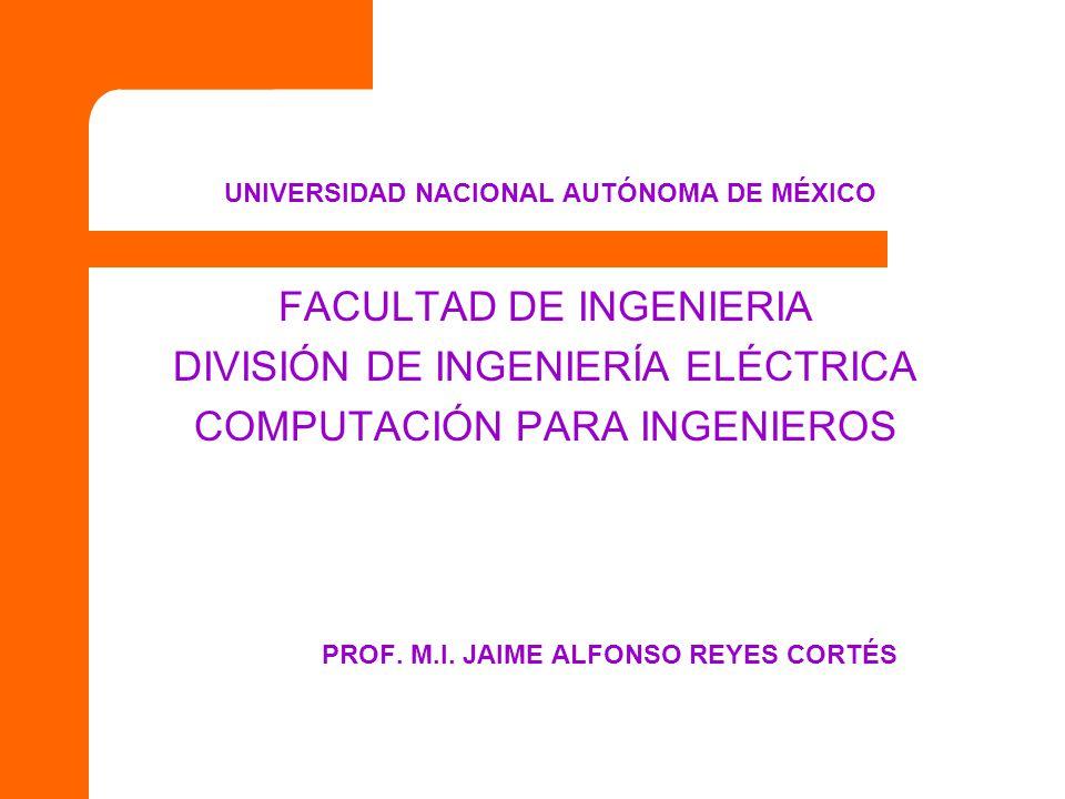 UNIVERSIDAD NACIONAL AUTÓNOMA DE MÉXICO FACULTAD DE INGENIERIA DIVISIÓN DE INGENIERÍA ELÉCTRICA COMPUTACIÓN PARA INGENIEROS PROF. M.I. JAIME ALFONSO R