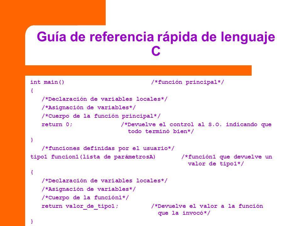 Guía de referencia rápida de lenguaje C int main()/*función principal*/ { /*Declaración de variables locales*/ /*Asignación de variables*/ /*Cuerpo de