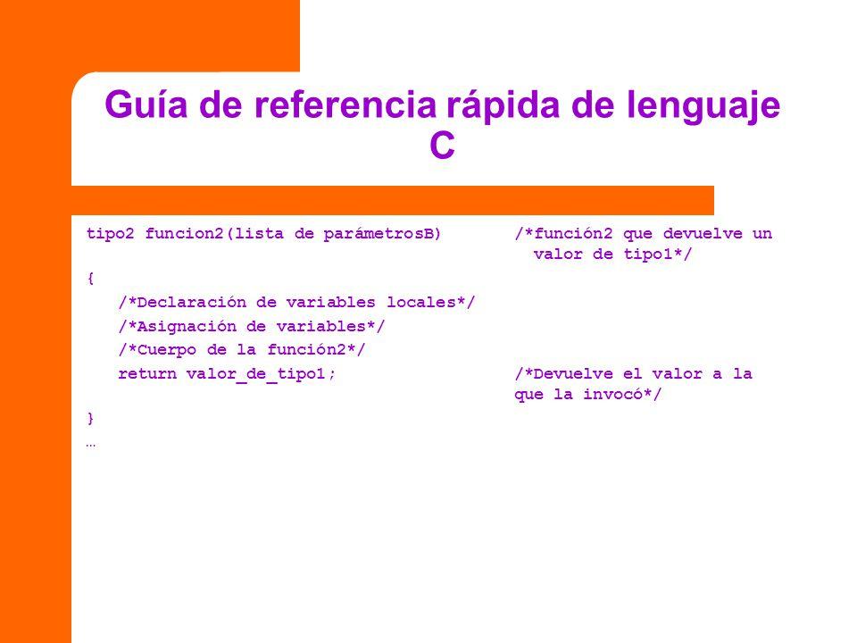 Guía de referencia rápida de lenguaje C tipo2 funcion2(lista de parámetrosB)/*función2 que devuelve un valor de tipo1*/ { /*Declaración de variables l