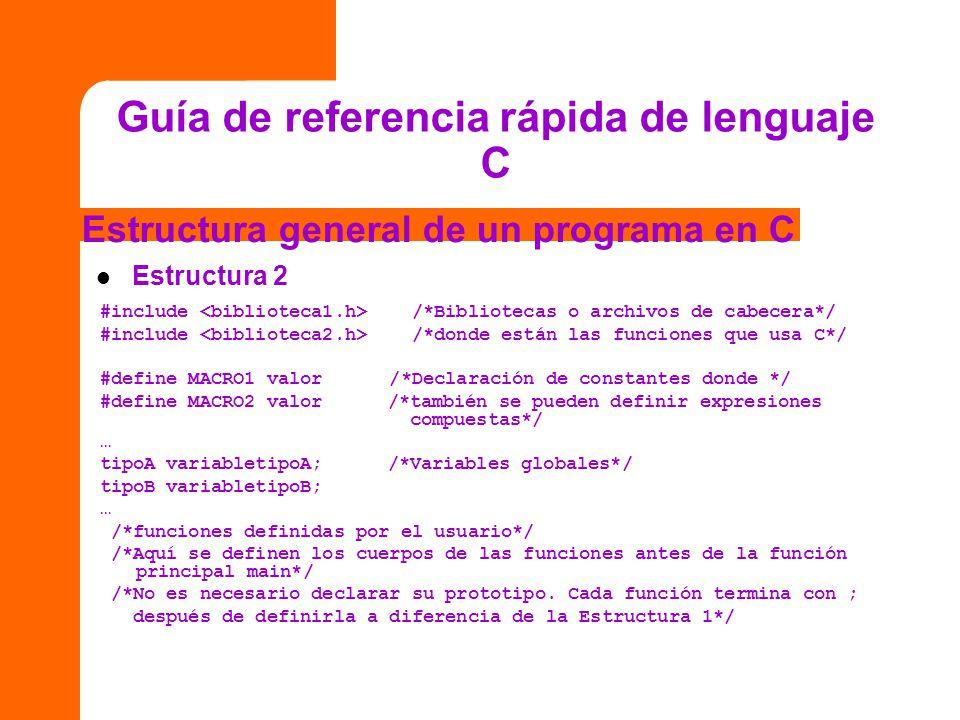 Guía de referencia rápida de lenguaje C Estructura general de un programa en C Estructura 2 #include /*Bibliotecas o archivos de cabecera*/ #include /
