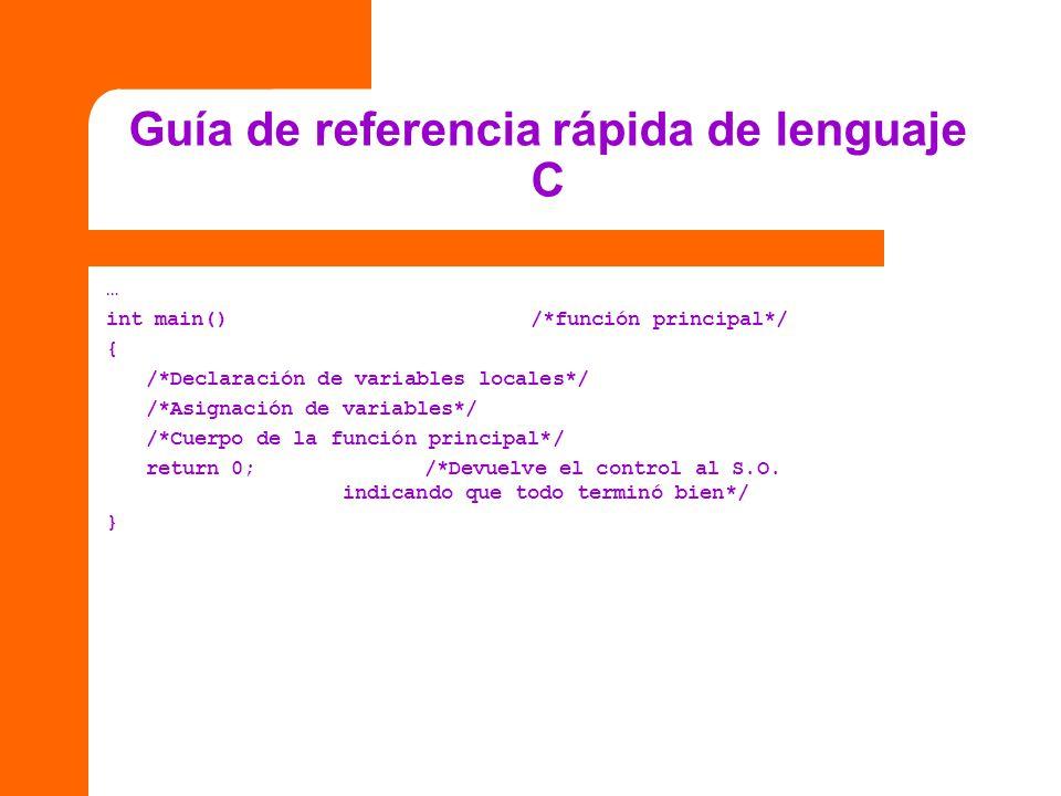 Guía de referencia rápida de lenguaje C … int main()/*función principal*/ { /*Declaración de variables locales*/ /*Asignación de variables*/ /*Cuerpo