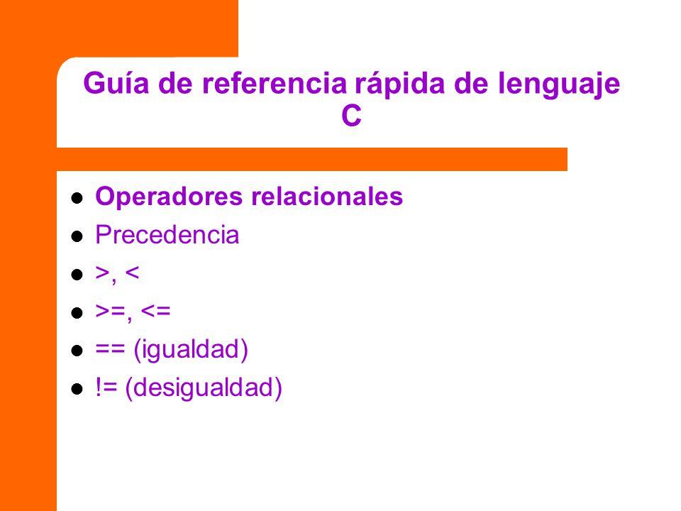 Guía de referencia rápida de lenguaje C Operadores relacionales Precedencia >, < >=, <= == (igualdad) != (desigualdad)