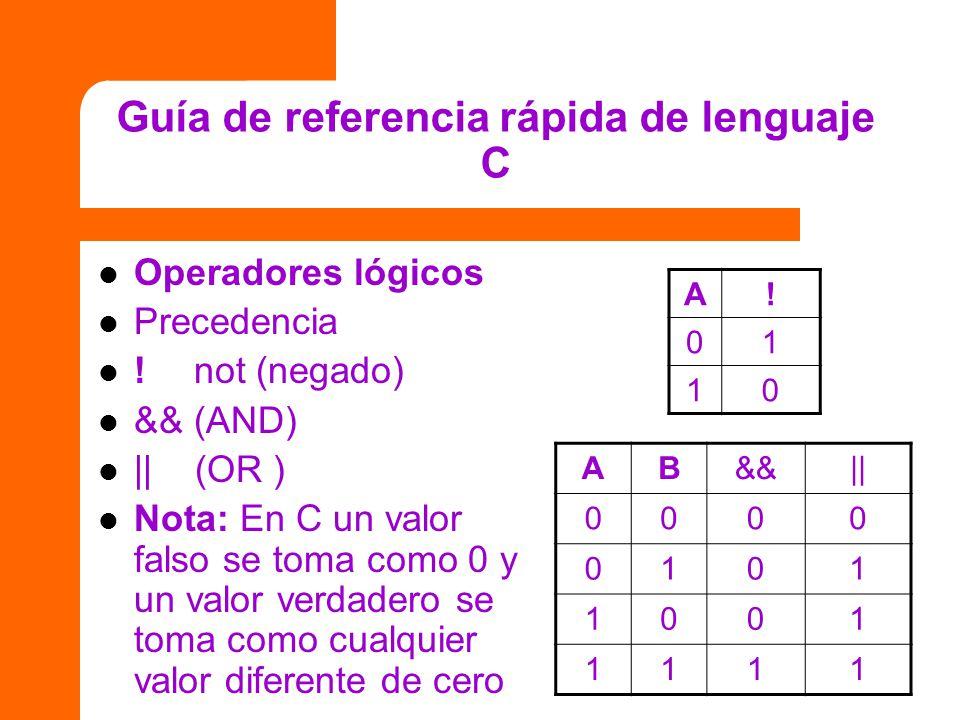 Guía de referencia rápida de lenguaje C Operadores lógicos Precedencia ! not (negado) && (AND) || (OR ) Nota: En C un valor falso se toma como 0 y un