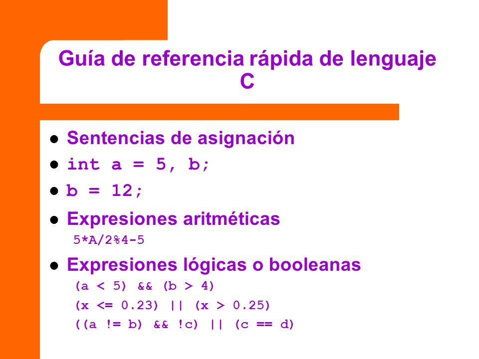 Guía de referencia rápida de lenguaje C Sentencias de asignación int a = 5, b; b = 12; Expresiones aritméticas 5*A/2%4-5 Expresiones lógicas o boolean