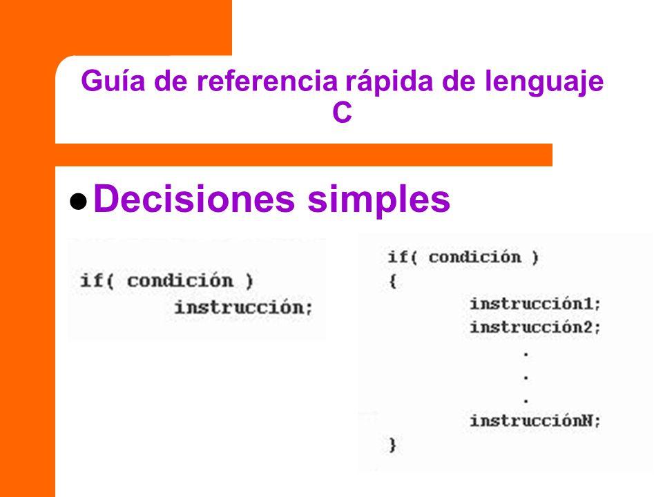 Guía de referencia rápida de lenguaje C Decisiones simples