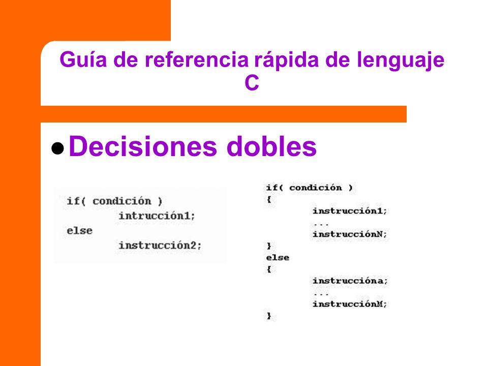 Guía de referencia rápida de lenguaje C Decisiones dobles