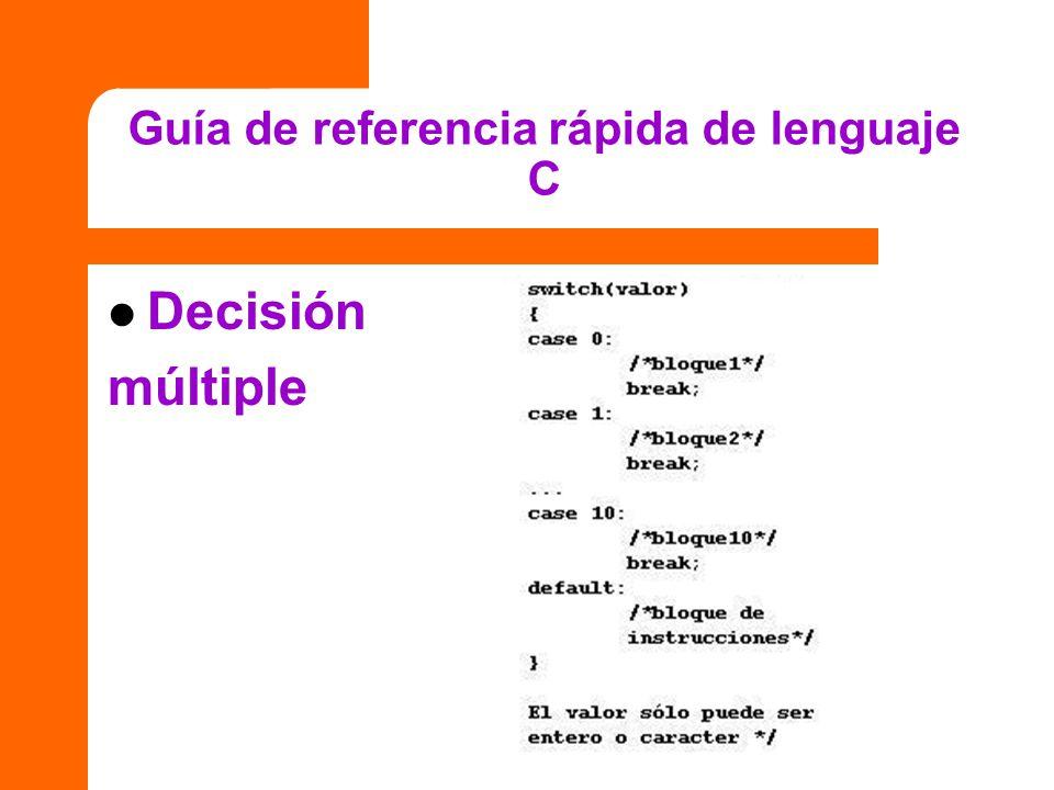 Guía de referencia rápida de lenguaje C Decisión múltiple