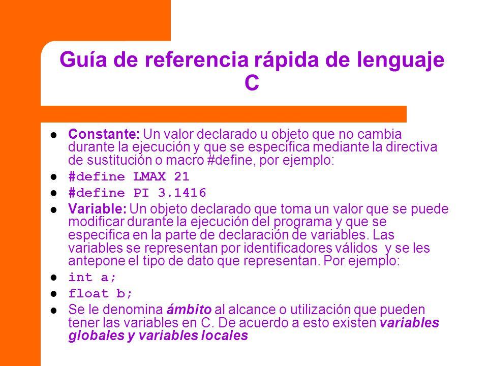 Guía de referencia rápida de lenguaje C Constante: Un valor declarado u objeto que no cambia durante la ejecución y que se especifica mediante la dire