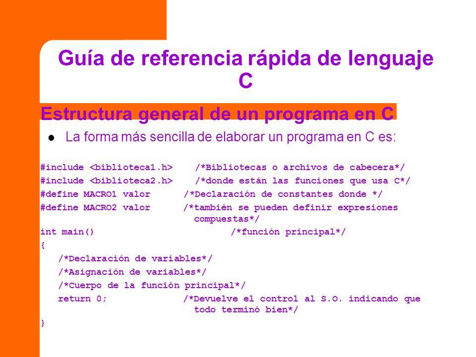 Guía de referencia rápida de lenguaje C Estructura general de un programa en C La forma más sencilla de elaborar un programa en C es: #include /*Bibli