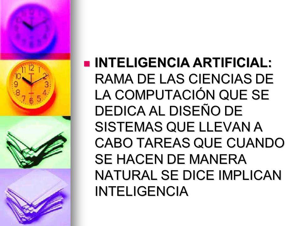 INTELIGENCIA ARTIFICIAL: RAMA DE LAS CIENCIAS DE LA COMPUTACIÓN QUE SE DEDICA AL DISEÑO DE SISTEMAS QUE LLEVAN A CABO TAREAS QUE CUANDO SE HACEN DE MANERA NATURAL SE DICE IMPLICAN INTELIGENCIA INTELIGENCIA ARTIFICIAL: RAMA DE LAS CIENCIAS DE LA COMPUTACIÓN QUE SE DEDICA AL DISEÑO DE SISTEMAS QUE LLEVAN A CABO TAREAS QUE CUANDO SE HACEN DE MANERA NATURAL SE DICE IMPLICAN INTELIGENCIA