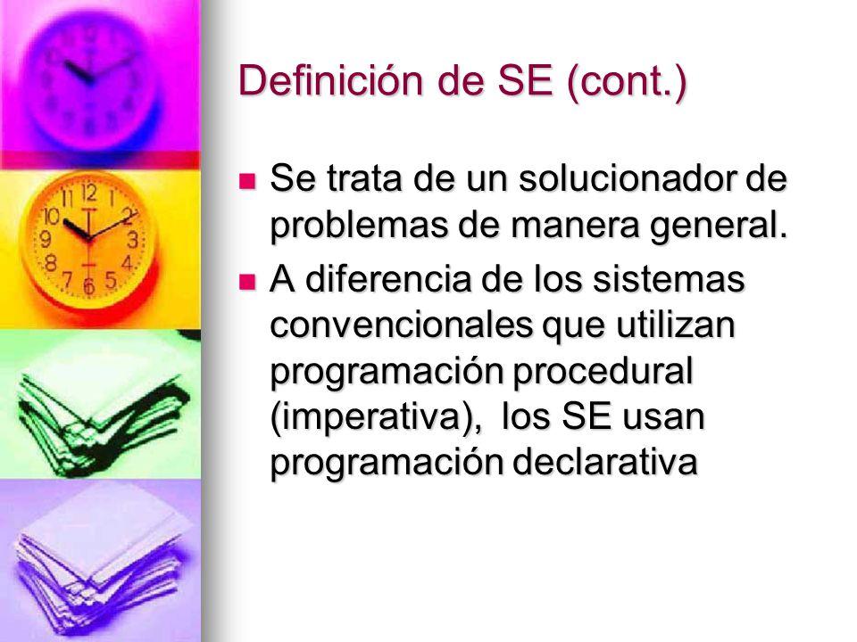 Definición de SE (cont.) Se trata de un solucionador de problemas de manera general.