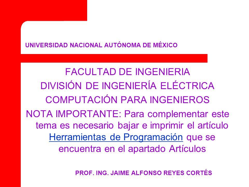UNIVERSIDAD NACIONAL AUTÓNOMA DE MÉXICO FACULTAD DE INGENIERIA DIVISIÓN DE INGENIERÍA ELÉCTRICA COMPUTACIÓN PARA INGENIEROS NOTA IMPORTANTE: Para complementar este tema es necesario bajar e imprimir el artículo Herramientas de Programación que se encuentra en el apartado Artículos Herramientas de Programación PROF.