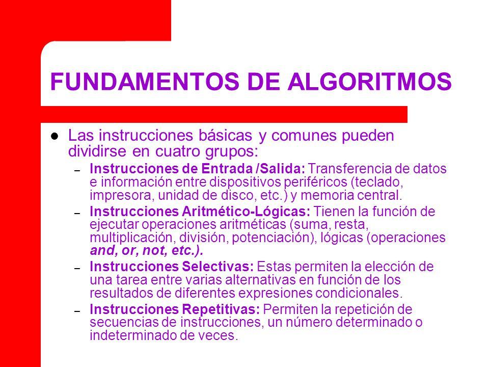 FUNDAMENTOS DE ALGORITMOS Las instrucciones básicas y comunes pueden dividirse en cuatro grupos: – Instrucciones de Entrada /Salida: Transferencia de