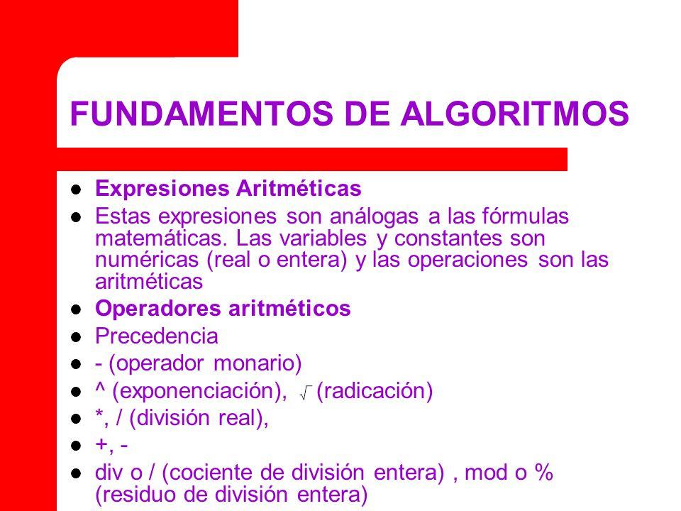 FUNDAMENTOS DE ALGORITMOS Expresiones Aritméticas Estas expresiones son análogas a las fórmulas matemáticas. Las variables y constantes son numéricas