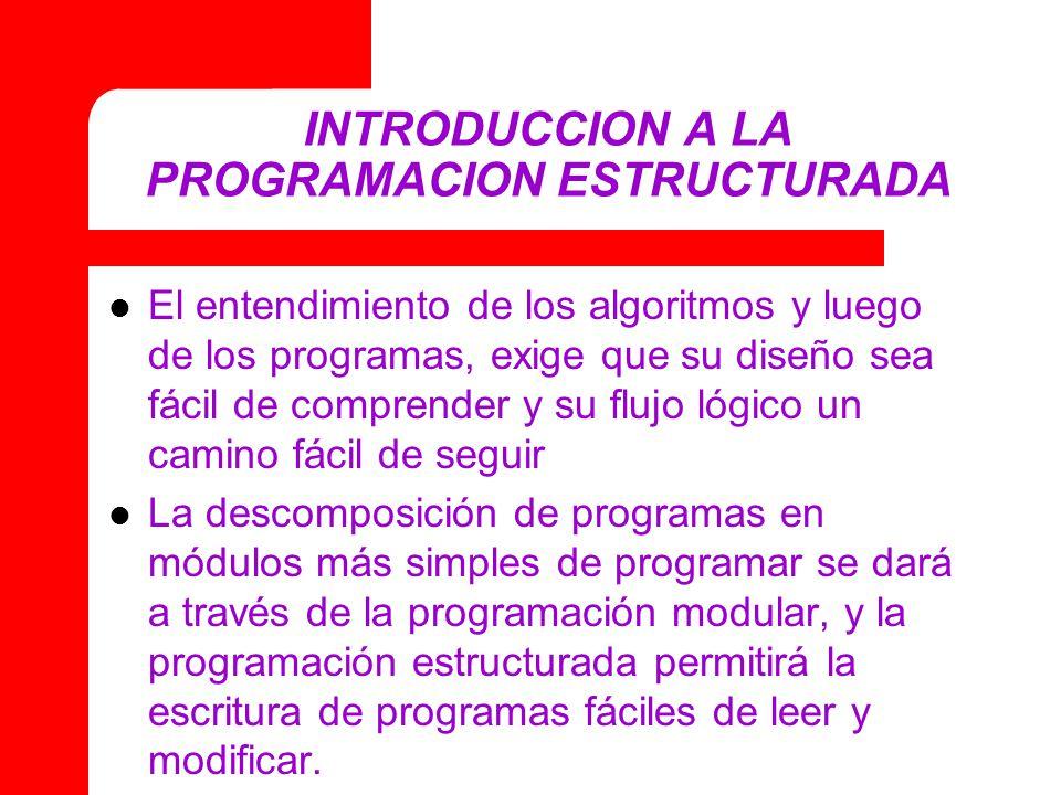 INTRODUCCION A LA PROGRAMACION ESTRUCTURADA El entendimiento de los algoritmos y luego de los programas, exige que su diseño sea fácil de comprender y su flujo lógico un camino fácil de seguir La descomposición de programas en módulos más simples de programar se dará a través de la programación modular, y la programación estructurada permitirá la escritura de programas fáciles de leer y modificar.