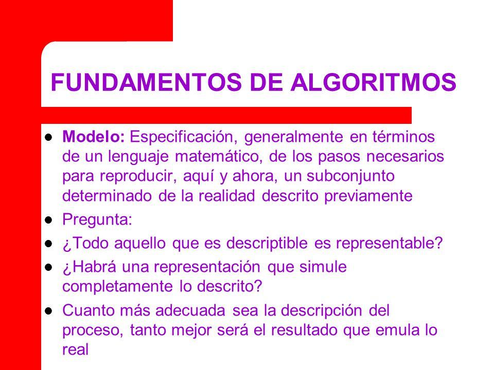 FUNDAMENTOS DE ALGORITMOS Modelo: Especificación, generalmente en términos de un lenguaje matemático, de los pasos necesarios para reproducir, aquí y ahora, un subconjunto determinado de la realidad descrito previamente Pregunta: ¿Todo aquello que es descriptible es representable.
