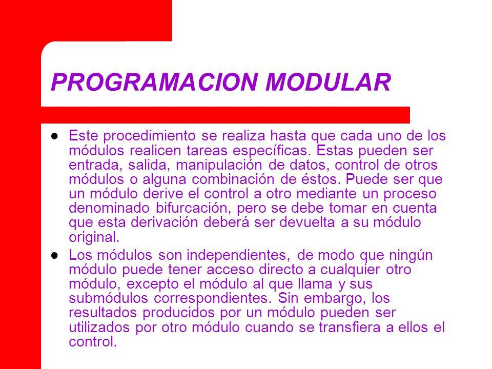 PROGRAMACION MODULAR Este procedimiento se realiza hasta que cada uno de los módulos realicen tareas específicas. Estas pueden ser entrada, salida, ma