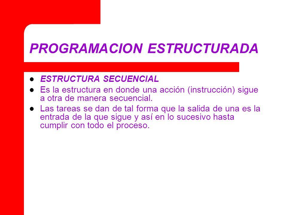 PROGRAMACION ESTRUCTURADA ESTRUCTURA SECUENCIAL Es la estructura en donde una acción (instrucción) sigue a otra de manera secuencial. Las tareas se da