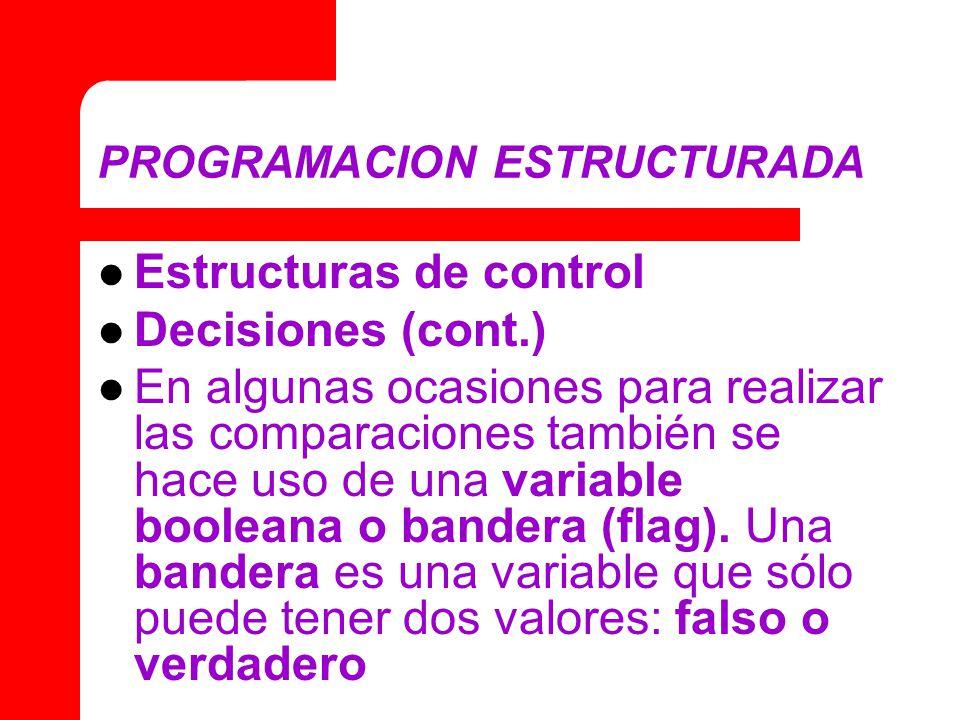 PROGRAMACION ESTRUCTURADA Estructuras de control Decisiones (cont.) En algunas ocasiones para realizar las comparaciones también se hace uso de una variable booleana o bandera (flag).