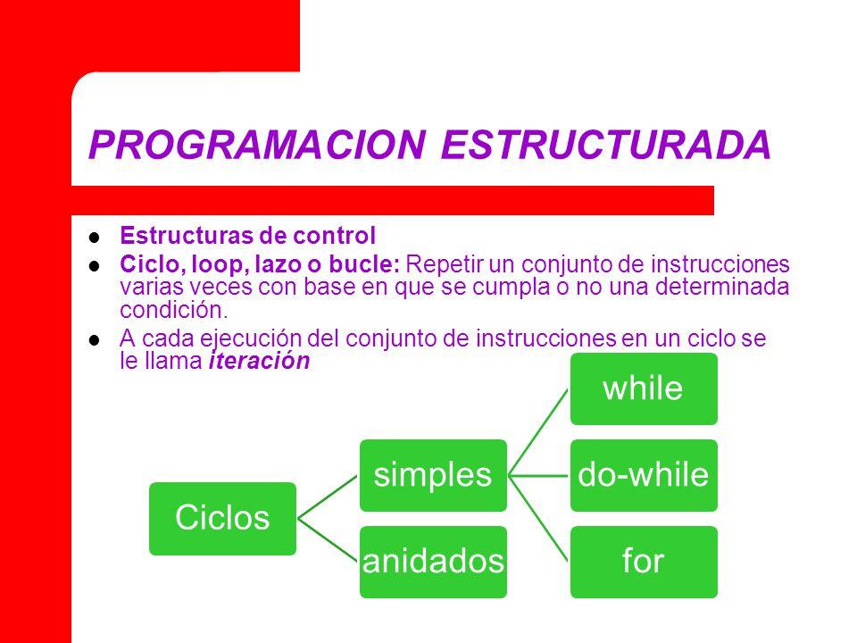 PROGRAMACION ESTRUCTURADA Estructuras de control Ciclo, loop, lazo o bucle: Repetir un conjunto de instrucciones varias veces con base en que se cumpla o no una determinada condición.