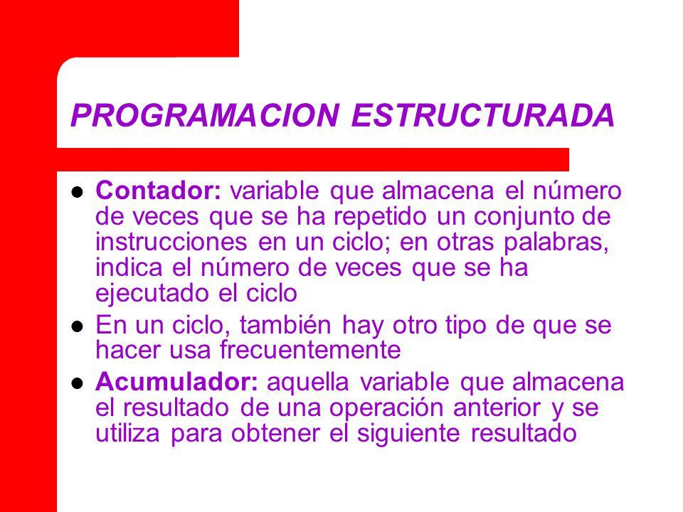 PROGRAMACION ESTRUCTURADA Contador: variable que almacena el número de veces que se ha repetido un conjunto de instrucciones en un ciclo; en otras palabras, indica el número de veces que se ha ejecutado el ciclo En un ciclo, también hay otro tipo de que se hacer usa frecuentemente Acumulador: aquella variable que almacena el resultado de una operación anterior y se utiliza para obtener el siguiente resultado