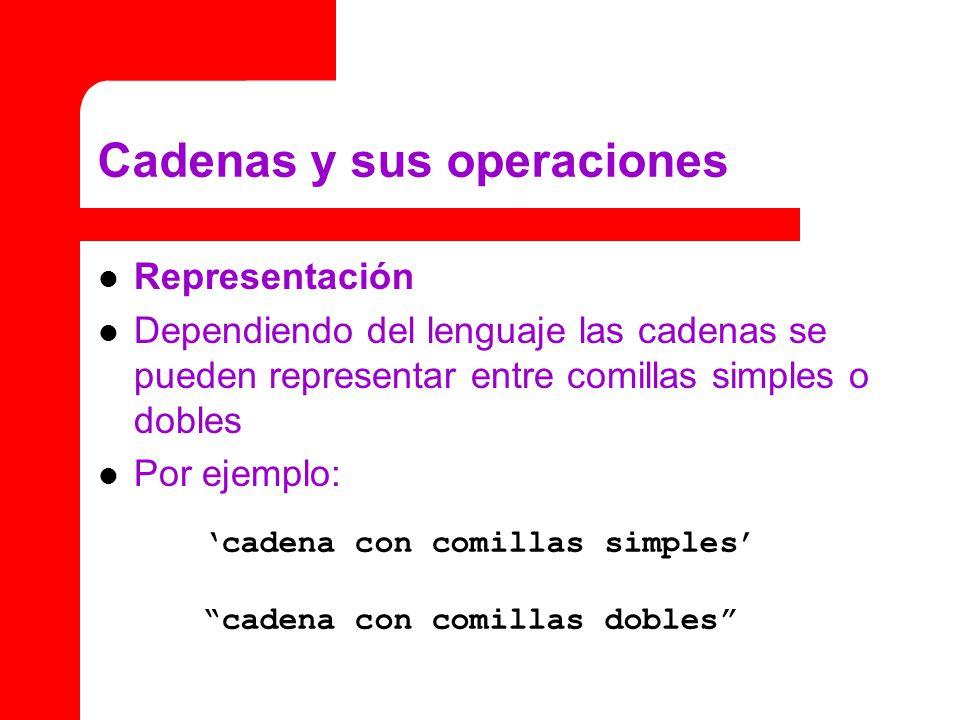 Cadenas y sus operaciones Representación Dependiendo del lenguaje las cadenas se pueden representar entre comillas simples o dobles Por ejemplo: cadena con comillas simples cadena con comillas dobles