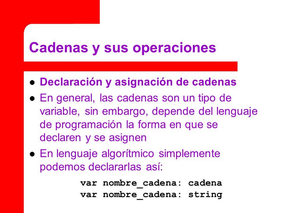Cadenas y sus operaciones Declaración y asignación de cadenas En general, las cadenas son un tipo de variable, sin embargo, depende del lenguaje de pr