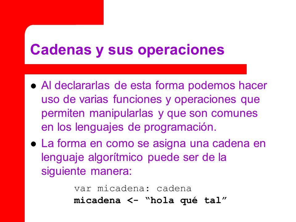 Cadenas y sus operaciones Al declararlas de esta forma podemos hacer uso de varias funciones y operaciones que permiten manipularlas y que son comunes en los lenguajes de programación.