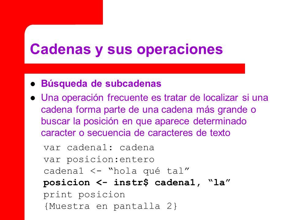 Cadenas y sus operaciones Búsqueda de subcadenas Una operación frecuente es tratar de localizar si una cadena forma parte de una cadena más grande o b